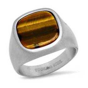 Mens Stainless Steel Ring with Octagon Tiger Eye C