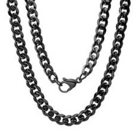 Mens Steeltime Black IP Curb Chain Necklace