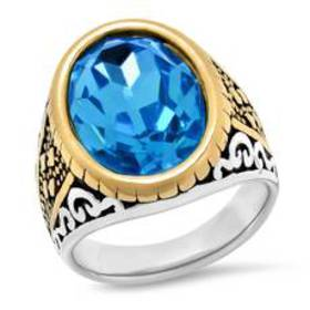 Mens 18kt. Gold-Plated Ring with Simulated Diamond