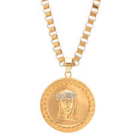 Mens Steeltime Gold Plated & Cubic Zirconia Jesus
