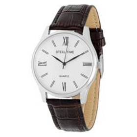 Mens Steeltime Silver Toned Leather Watch - 998021
