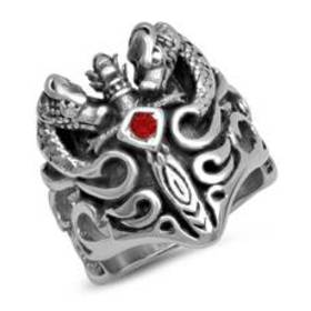 Mens Flaming Sword Ring with Red Simulated Diamond