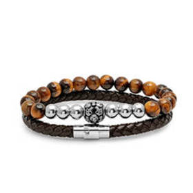 Mens Steeltime 2pc. Tiger Beads & Leather Braided