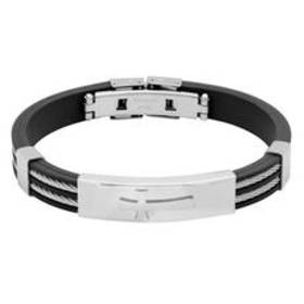 Mens Rubber and Cable Wire Bracelet with Cross Des