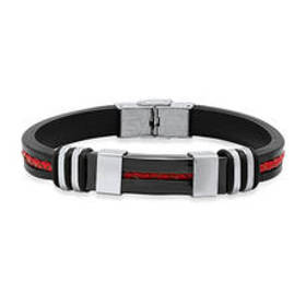 Mens Steeltime Black & Red Leather, Stainless Stee