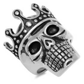 Mens Stainless Steel Skull with Crown Ring