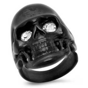 Mens Black IP-Plated Skull Ring with Simulated Whi