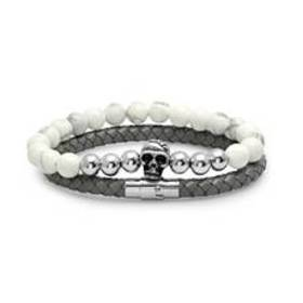 Mens 2pc. Grey Leather Braided Bracelets with Bead