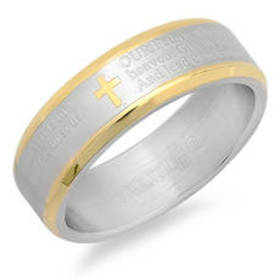 Mens Steeltime Two-Tone Stainless Steel Our Father