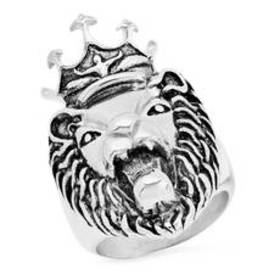 Mens Stainless Steel Lion Head with Crown Ring