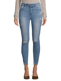 Wax Juniors' Push-Up Skinny Jeans with Destruction