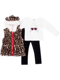 Little Lass Toddler Girls 3-pc. Faux Fur Leopard V