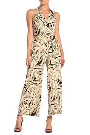 London Times Leaf Print Halter Jumpsuit (Petite)