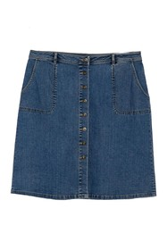 Vince Camuto Denim A-Line Button Front Skirt