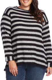Vince Camuto Fuzzy Stripe Boatneck Sweater (Plus S