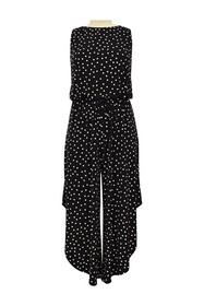 London Times Happy Dot Sleeveless Culotte Jumpsuit