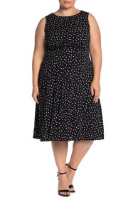 London Times Polka Dot Sleeveless Midi Dress (Plus