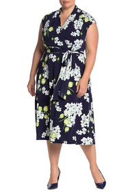 London Times Floral Faux Wrap Midi Dress (Plus Siz