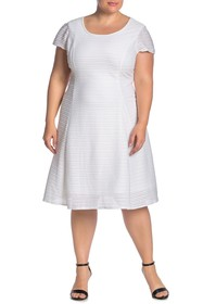 London Times Textured Fit & Flare Dress (Plus Size