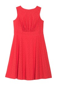 London Times Eyelet Sleeveless Midi Dress (Plus Si