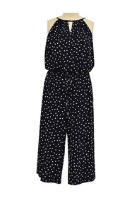 London Times Happy Dot Cropped Jumpsuit (Plus Size