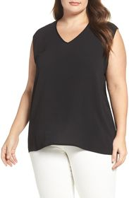 Vince Camuto Mixed Media Tank Top (Plus Size)