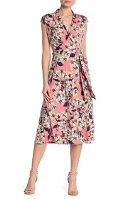 London Times Surplice Floral Midi Dress