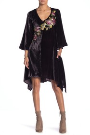 ARATTA Embroidered Bell Sleeve Velvet Dress