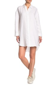 James Perse Long Sleeve Linen Shirt Dress