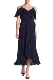 London Times Ruffle Cold Shoulder Maxi Dress