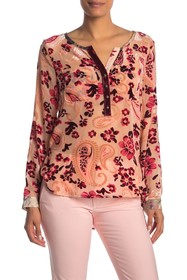ARATTA Button Down Velvet And Sheer Blouse