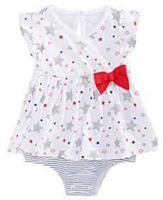 Baby Girls Star-Print Striped Cotton Sunsuit, Crea