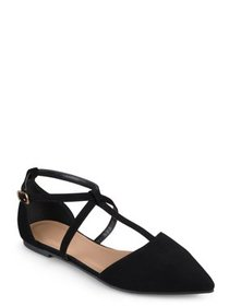 Women's Pointed Toe Ankle Wrap T-strap D'orsay Fla