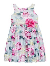 Youngland Girls Easter Floral Shadow Stripe Dress