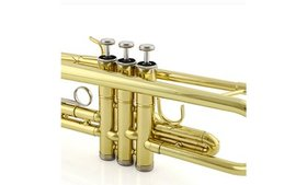 Trumpet Bb B Flat Brass Gold with Mouthpiece Strap