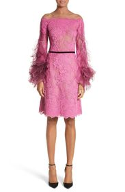 Marchesa DRS OTS CORDERED LACE W TULLE
