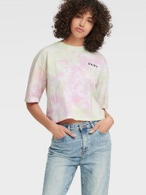 Donna Karan CROPPED MULTICOLOR TIE DYE TEE