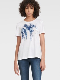 Donna Karan PAINT SPLATTER METALLIC LOGO TEE
