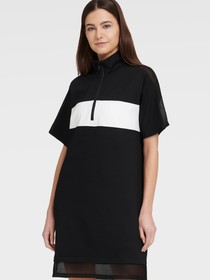Donna Karan SHORT SLEEVE HALF ZIP DRESS WITH MESH