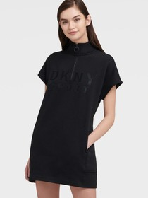Donna Karan HALF-ZIP DRESS WITH EMBROIDERED LOGO