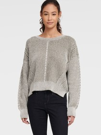 Donna Karan CHUNKY KNIT SWEATER WITH SPLIT HEM