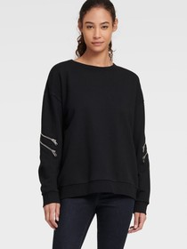 Donna Karan SWEATSHIRT WITH ZIP SLEEVE DETAIL
