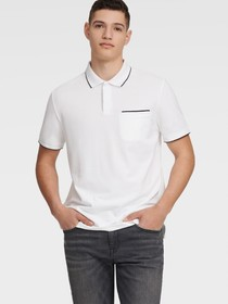 Donna Karan PIQUE POLO WITH CHEST POCKET
