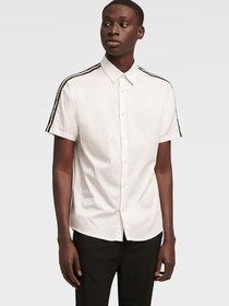 Donna Karan SHORT SLEEVE STRIPE SHIRT