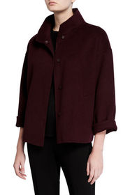 Eileen Fisher Brushed Double-Face Wool Stand Colla