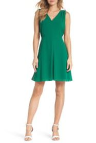 Vince Camuto V-Neck Chiffon A-Line Dress (Regular