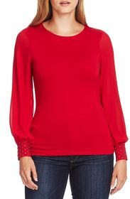 Vince Camuto LONG CHIFFON SLV KNIT TOP W/EM