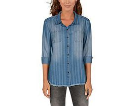 Natural Reflections Chambray Button-Down Long-Slee
