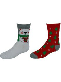 CTM® Girl's Christmas 2PK Butter and Flat Knit Soc