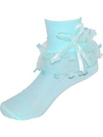 CTM® Infant Girls Ruffled Trim Turn Cuff Anklets